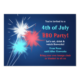 """Sparklers 4th of July BBQ Party Invitations 4.5"""" X 6.25"""" Invitation Card"""
