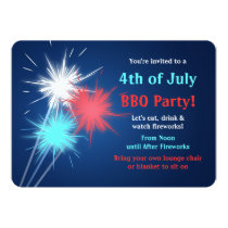 Sparklers 4th of July BBQ Party Invitations