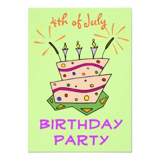"""Sparklers 4tos de la torta de cumpleaños de la invitación 5"""" x 7"""""""