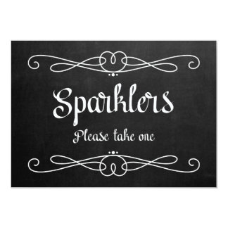 """Sparklers"" Chalkboard Wedding Sign Card"