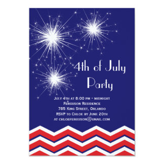 """Sparklers & Chevrons 4th of July Party Invitation 5"""" X 7"""" Invitation Card"""