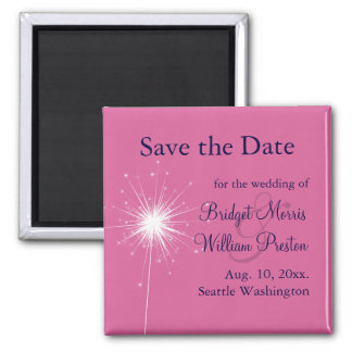 Sparklers Wedding Save the Date Magnet (pink)
