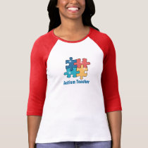 Sparkles Autism teacherSleeve Raglan (Fitted) T-Shirt