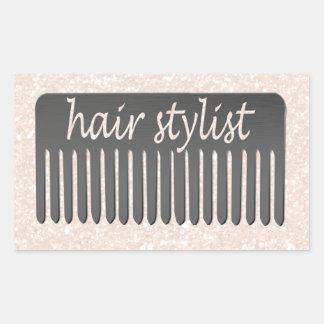 Sparkles Beauty   Hair Stylist & Comb Rectangular Sticker