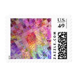 Sparkles Diagonal Multicolored Pinks Tiles Postage