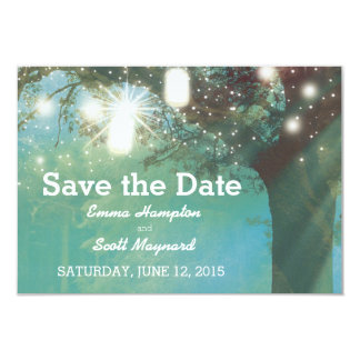 Sparkles outdoor tree magical romatic stars light 3.5x5 paper invitation card