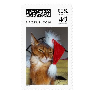 Sparkle's Santa Kitty Somali Cat Postage Stamp