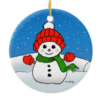 Sparkles the Snowman: Happy Holidays! Ceramic Ornament