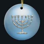 """Sparkley Menorah Hanukkah Ornament<br><div class=""""desc"""">Holiday Decor and Gifts by Tailored Type. I am more than happy to help you with your Zazzle experience. For example, do you like the design but need a different color? Need help with the Zazzle editor? No problem! Email me: carrie at tailoredtype dot com You can also use the...</div>"""