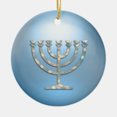 Sparkley Menorah Hanukkah Ornament at Zazzle
