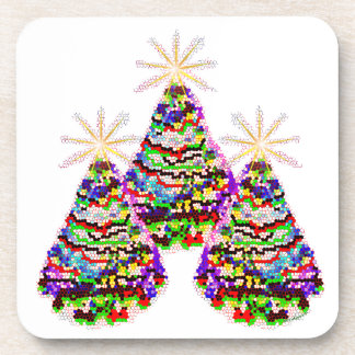 Sparkling Abstract Christmas Trees Design Beverage Coaster