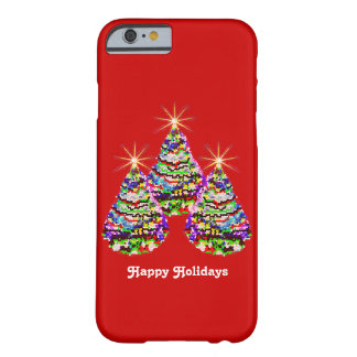 Sparkling Abstract Christmas Trees Design on Red Barely There iPhone 6 Case