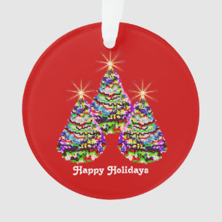 Sparkling Abstract Christmas Trees Design on Red Ornament