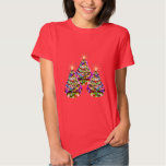 Sparkling Abstract Christmas Trees Design on Red Shirt