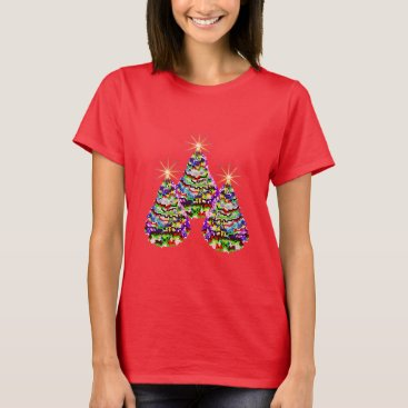Christmas Themed Sparkling Abstract Christmas Trees Design on Red T-Shirt