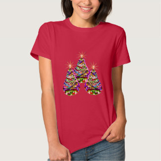 Sparkling Abstract Christmas Trees Design on Red Tshirt