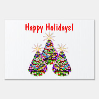 Sparkling Abstract Christmas Trees Design Yard Sign