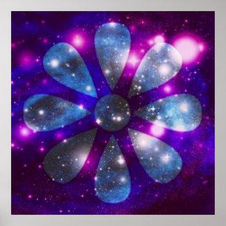 Sparkling Astral Flower Poster
