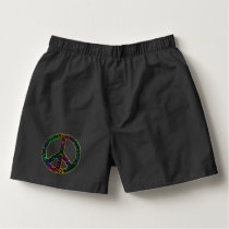 Sparkling Awesome Rainbow Leopard Peace Sign Boxers