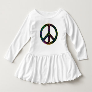 Sparkling Awesome Rainbow Leopard Peace Sign Dress