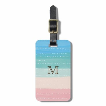 Beach Themed Sparkling Beach Watercolor Stripes Luggage Tag