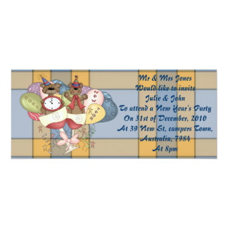 Sparkling Bears New Year 4x9.25 Paper Invitation Card