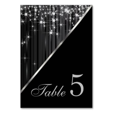 Professional Business Sparkling Black and Silver Star Lights Card