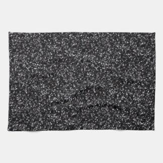 Sparkling Black Glitter Hand Towels