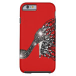 Sparkling Black Stiletto on Red Tough iPhone 6 Case