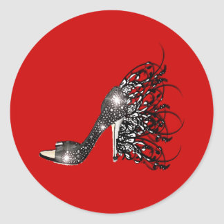 Sparkling Black Stiletto on Red Classic Round Sticker
