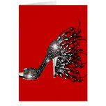 Sparkling Black Stiletto on Red Greeting Card