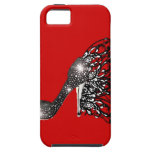 Sparkling Black Stiletto on Red iPhone 5 Cover
