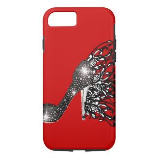 Sparkling Black Stiletto on Red iPhone 7 Case