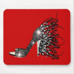 Sparkling Black Stiletto on Red Mouse Pad