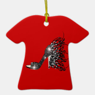 Sparkling Black Stiletto on Red Christmas Ornaments