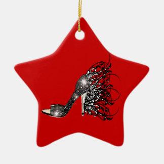 Sparkling Black Stiletto on Red Christmas Tree Ornament