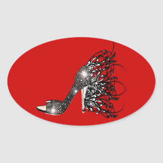Sparkling Black Stiletto on Red Oval Sticker
