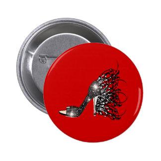 Sparkling Black Stiletto on Red Pinback Button