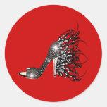 Sparkling Black Stiletto on Red Round Sticker