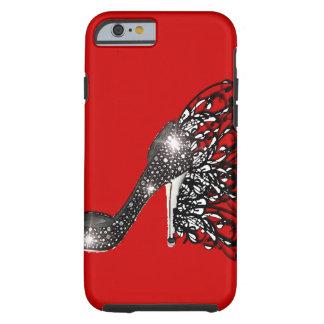 Sparkling Black Stiletto on Red Tough iPhone 6 Case