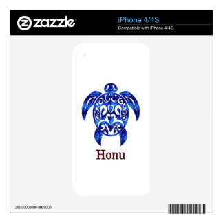 Sparkling Blue Hawaiian Sea Turtle on White Decals For iPhone 4