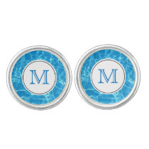 Sparkling Blue Swimming Pool Blue Water Monogram Cufflinks