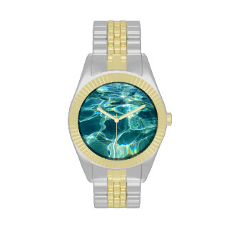 Sparkling Blue Water Swimming Pool Wristwatches