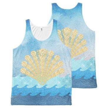 Beach Themed Sparkling Blue Waves Gold Diamond Seashell All-Over-Print Tank Top