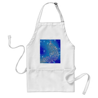 Sparkling Blue & White Peacock Adult Apron