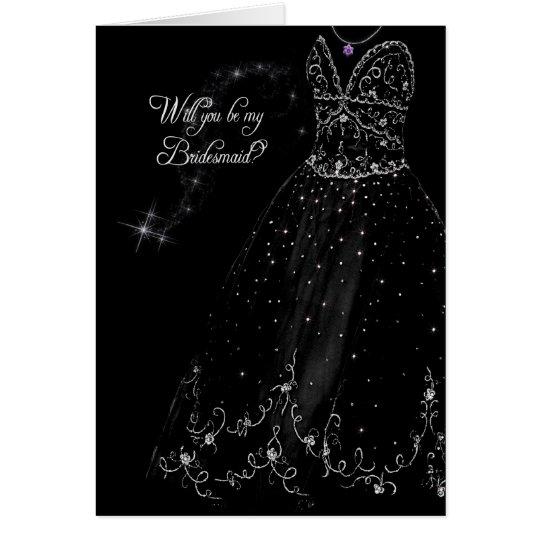Sparkling Bridesmaid Request Card