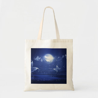 Sparkling Butterflies Luna moths fly by moon light Budget Tote Bag