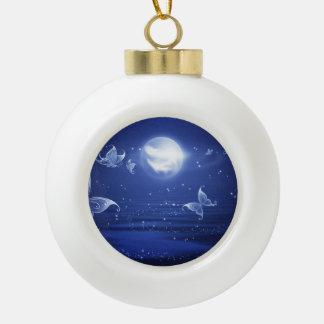 Sparkling Butterflies Luna moths fly by moon light Ceramic Ball Christmas Ornament