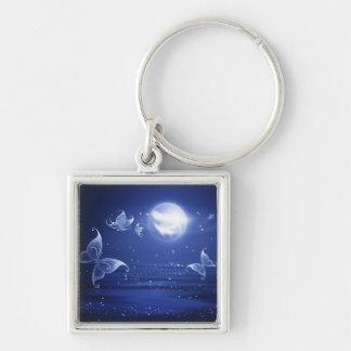 Sparkling Butterflies Luna moths fly by moon light Keychain