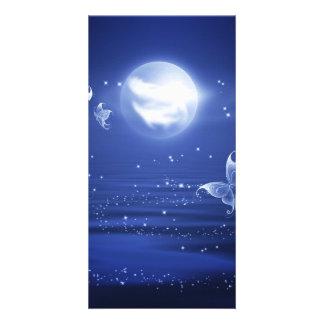 Sparkling Butterflies Luna moths fly by moon light Photo Card